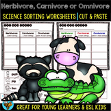 Carnivores, Herbivores, Omnivores Sorts | Cut and Paste Worksheets