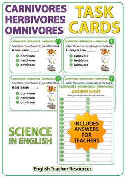 Carnivores, Herbivores, Omnivores - Task Cards