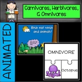 Carnivores, Herbivores, and Omnivores Animated PowerPoint and Puzzle