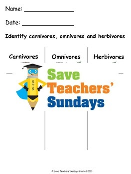Carnivores, Omnivores and Herbivores Lesson Plan and Worksheets (K to 2nd Grade)