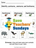 Carnivores, Omnivores and Herbivores Lesson Plan and Works