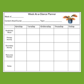 Carnivorous Plant Themed Weekly Planner