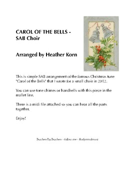 """Carol of the Bells"" - SAB Arrangement with Hand Bells & Midi file"
