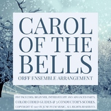 Carol of the Bells for Orff or Marimba Ensemble. 3 levels. beginner to advanced