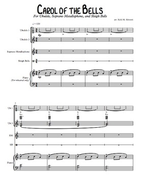 """Carol of the Bells"" for Ukuleles, Metallophone, and Jingle Bells"