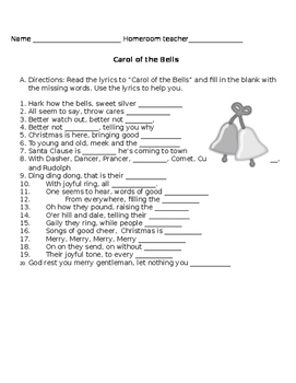 Carol of the Bells (remix) worksheet