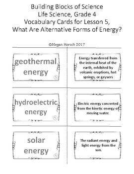 Carolina Biological Energy Works! Vocabulary Bundle, Grade 4