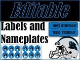 Carolina Panthers Labels and Nameplates