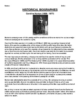 Caroline Norton Biography Article and (3) Assignments