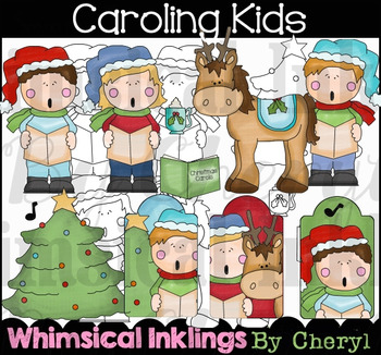 Caroling Kids Clipart Collection