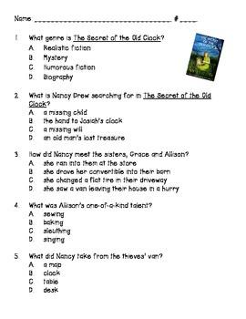 Carolyn Keene's Nancy Drew #1 - Secret of the Old Clock Comprehension Quiz