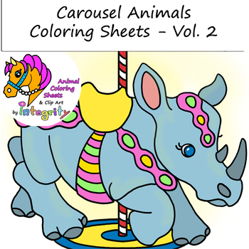 Carousel Animals Coloring Sheets - Vol. 2 - Carnival/Zoo (8 Fun Coloring Pages!)