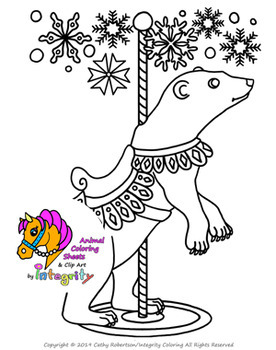 Carousel Animals Coloring Sheets Vol 2 Carnival Zoo 8 Fun
