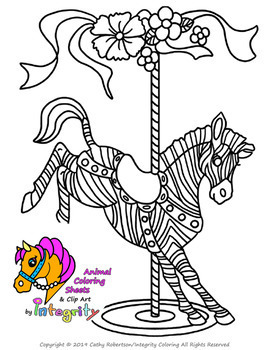 Carousel Animals Coloring Sheets - Vol. 3 - Carnival/Zoo (8 Fun Coloring Pages!)