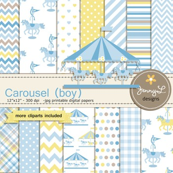 Carousel Boy digital paper and clipart