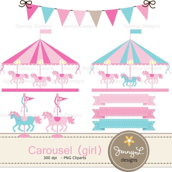 Carousel Girl digital paper and clipart