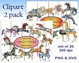 Carousel Horses Clip Art Set