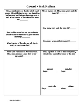 Carousel ~ Math Activity Sheets ~ Houghton Mifflin® ~ 2nd Grade