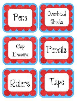 Carousel Red & Blue Scalloped Polka Dot Labels