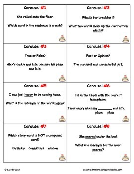Carousel ~ Scoot Game ~ Language Arts ~ Task Cards