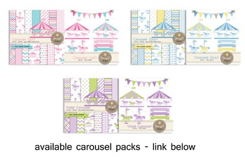 Carousel Violet digital paper and clipart