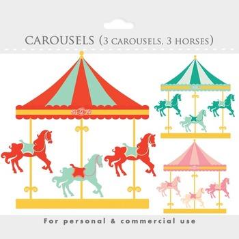 Carousel clipart - merry go round clip art, carnival, fair, horses, park