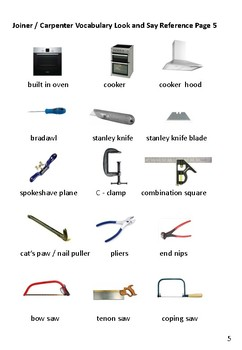 Carpentry / Joinery Associated Vocabulary  for EAL /ESL / ELL / ELD / EFL