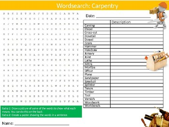 Carpentry Wordsearch Puzzle Sheet Keywords Woodwork Wood-Shop Tools