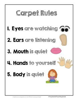 Carpet Rules For 1st Grade Kindergarten Tk Pre K And