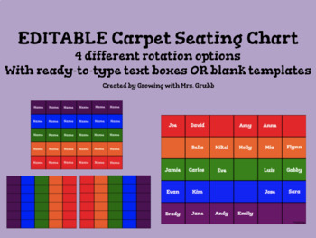 Carpet Seating Chart for ActivInspire Promethean Boards EDITABLE