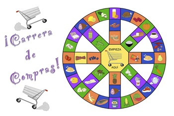 Carrera de Compras - Spanish Food Vocabulary Game (plus SmartBoard version)