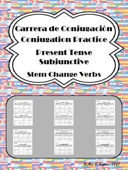 Carrera de Conjugacion: Stem-Change Present Subjunctive Verb Practice