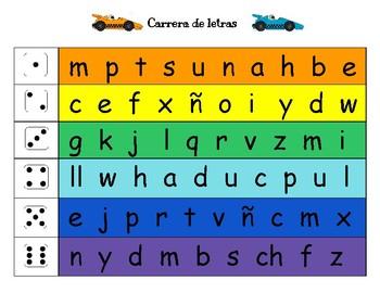 Carrera de letras, sílabas y palabras de alta frecuencia