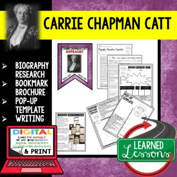 Carrie Chapman Catt Biography Research, Bookmark Brochure, Pop-Up, Writing
