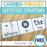 Carrier Phrases for Increasing Utterances - Sentence Starters with Visuals FREE