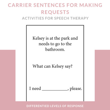 Speech Therapy Social Skills for Younger Students- Basic Requests/Statements