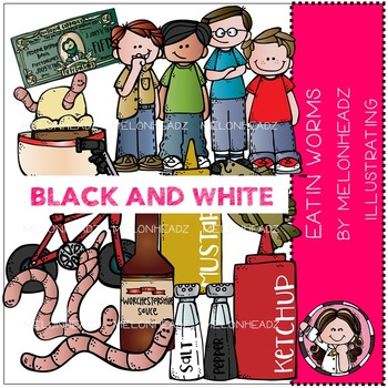 Melonheadz: Eatin Worms clip art - BLACK AND WHITE
