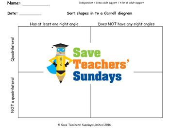 Carroll Diagram lesson plans, worksheets and other teaching resources