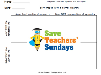 Carroll Diagram lines of symmetry lesson plans, worksheets