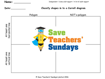 Carroll diagram worksheet (polygon or not and horizontal or vertical) (3 levels)