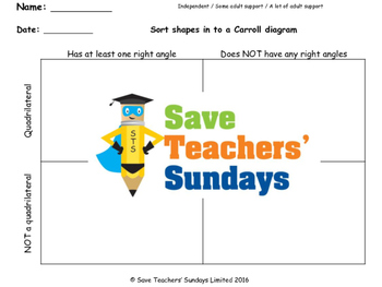 Carroll diagram worksheets  (3 levels of difficulty)