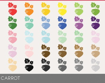 Carrot Digital Clipart, Carrot Graphics, Carrot PNG, Rainbow Carrot Digital