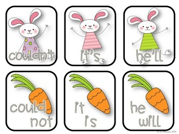 Carrot Loving Contractions {A Free Contraction Matching Literacy Center}