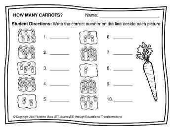 Carrots Numbers Match Up Math Center