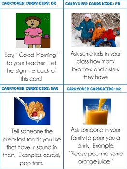 Carrryover Cards for Kids: Vocalic R