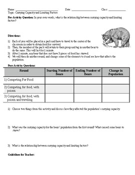 Limiting Factors Worksheets & Teaching Resources   TpT