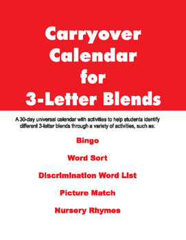 Carryover Calendar for 3-Letter Blends