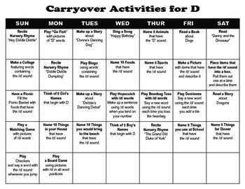 Carryover Calendar for D