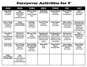 Carryover Calendar for F