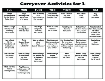 Carryover Calendar for L